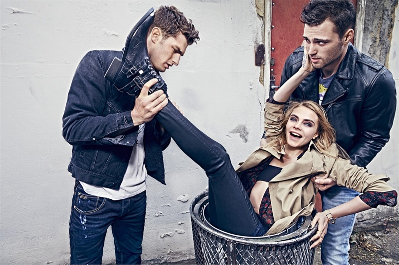 pepe jeans 2014 fall campaign cara delevingne5 Cara Delevingne Gets Playful in Pepe Jeans' Fall Ads