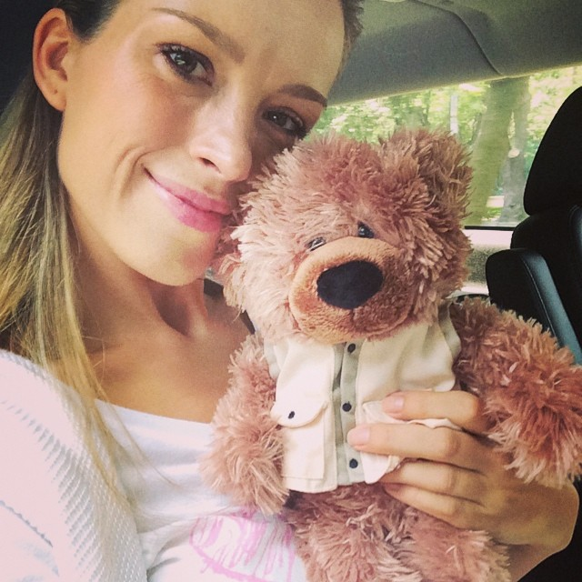 Petra Nemcova and a teddy bear
