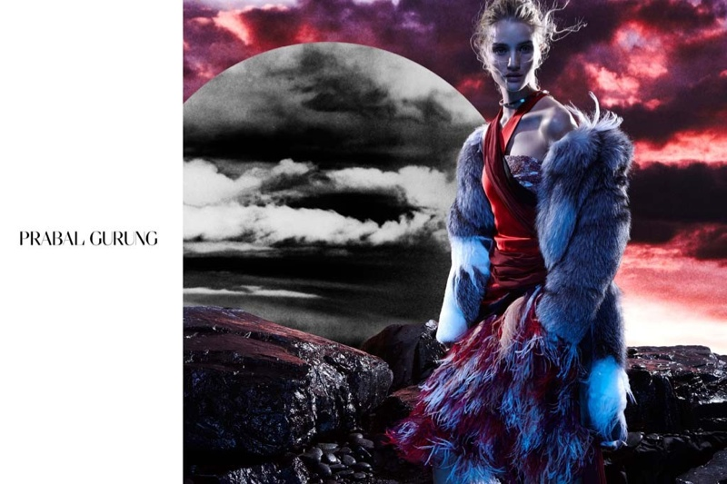 prabal gurung 2014 fall winter campaign1 Rosie Huntington Whiteley Stars in Prabal Gurungs Beautifully Eerie Fall Ads