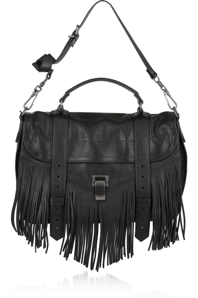 Proenza Schouler PS1 fringed medium leather shoulder bag available at Net-a-Porter for $1795.00
