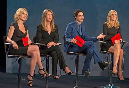 This is gonna hurt. Guest Judge Julie Bowen with Nina Garcia, Zac Posen and Heidi Klum. Photo: Lifetime
