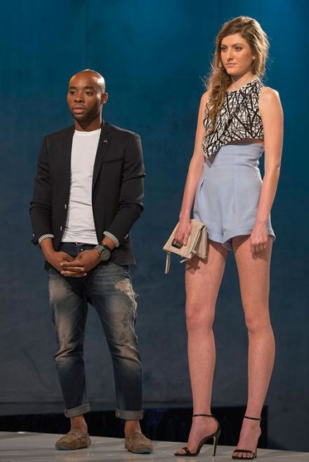 ELIMINATED LOOK: Jefferson and his model on the runway. Image: Lifetime