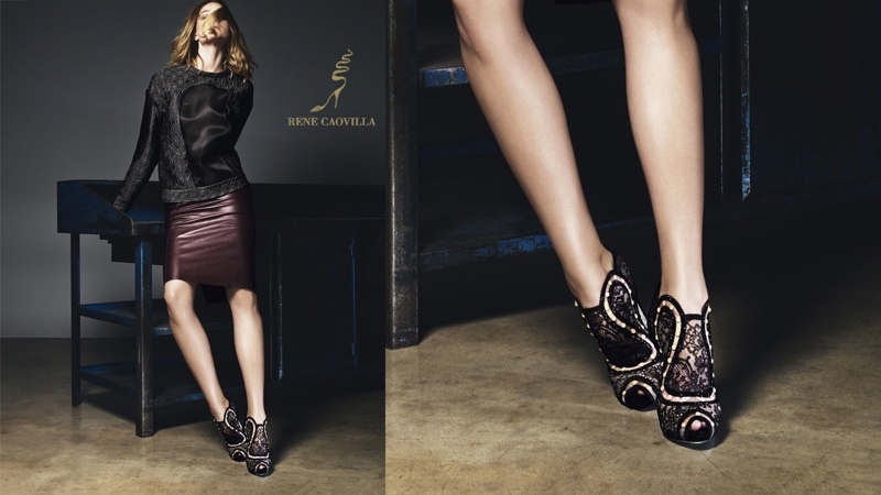 rene caovilla 2014 fall winter campaign1 Masha V Gets Leggy for Rene Caovilla Fall 2014 Campaign