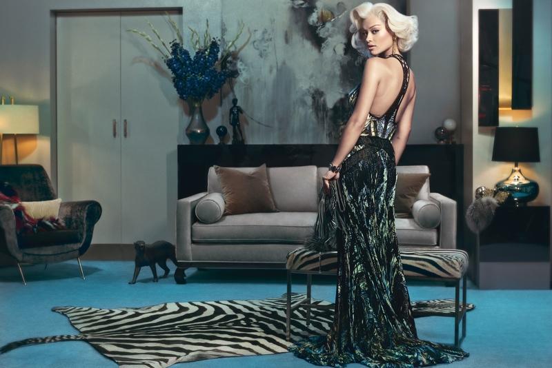 rita ora roberto cavalli ads photos1 Rita Ora is Just Like Marilyn in Roberto Cavallis Fall 2014 Ads