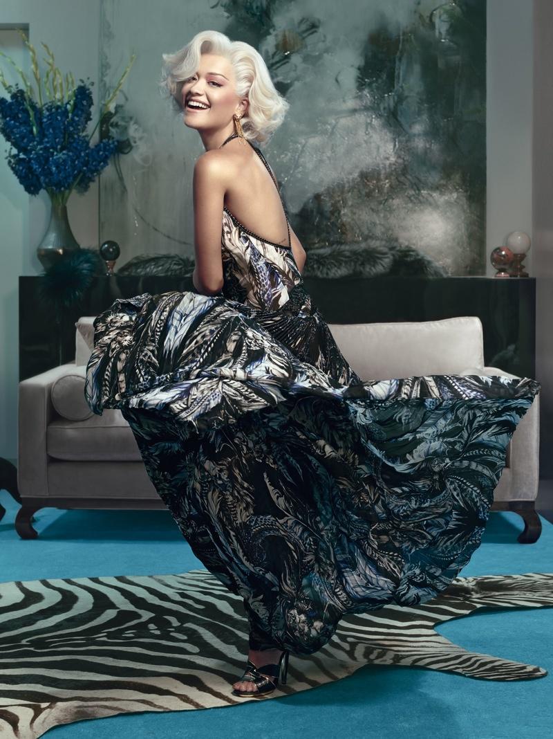 rita ora roberto cavalli ads photos2 Rita Ora is Just Like Marilyn in Roberto Cavallis Fall 2014 Ads