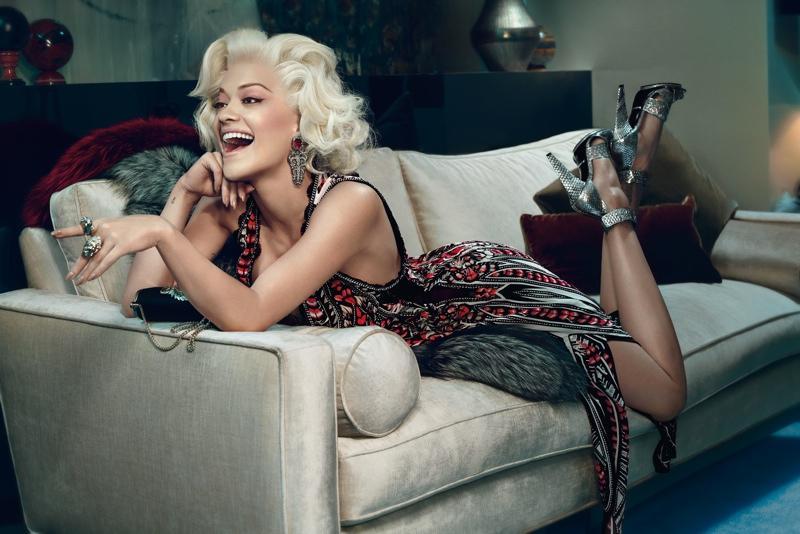 rita ora roberto cavalli ads photos3 Rita Ora is Just Like Marilyn in Roberto Cavallis Fall 2014 Ads