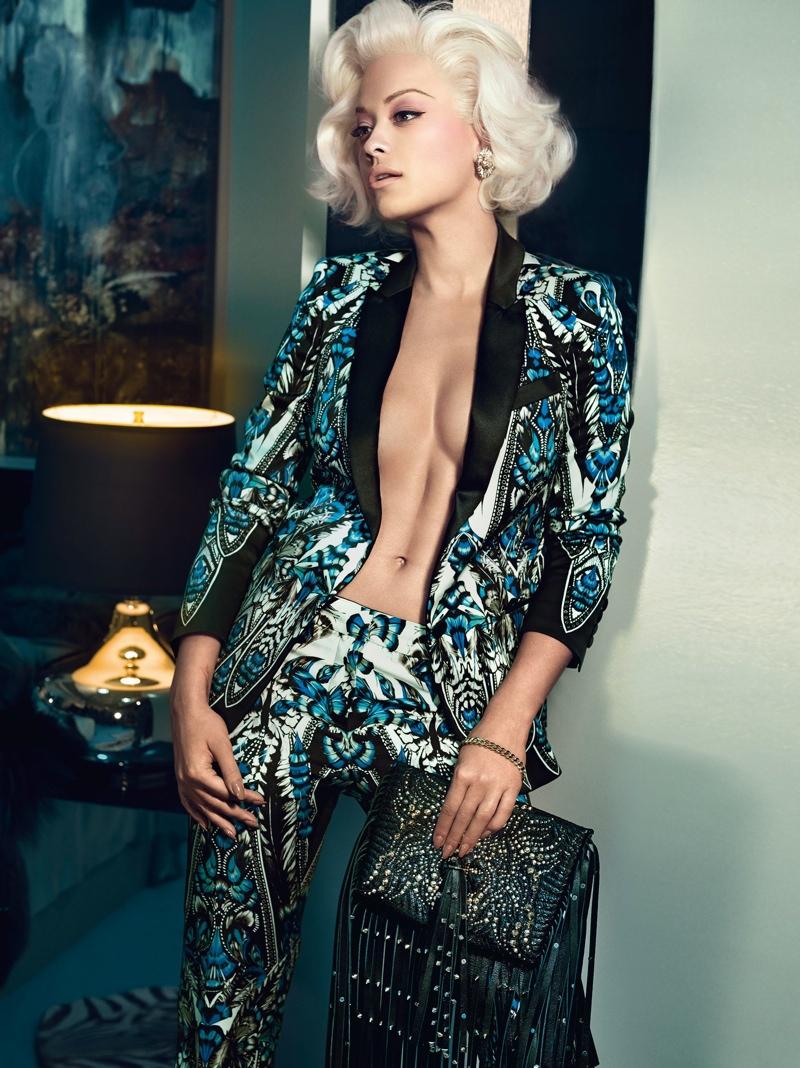 rita ora roberto cavalli ads photos4 Rita Ora is Just Like Marilyn in Roberto Cavallis Fall 2014 Ads