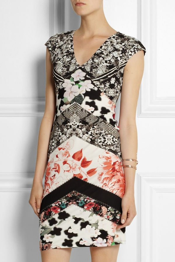 Roberto Cavalli Printed stretch-satin jersey mini dress available at Net-a-Porter for $910.00