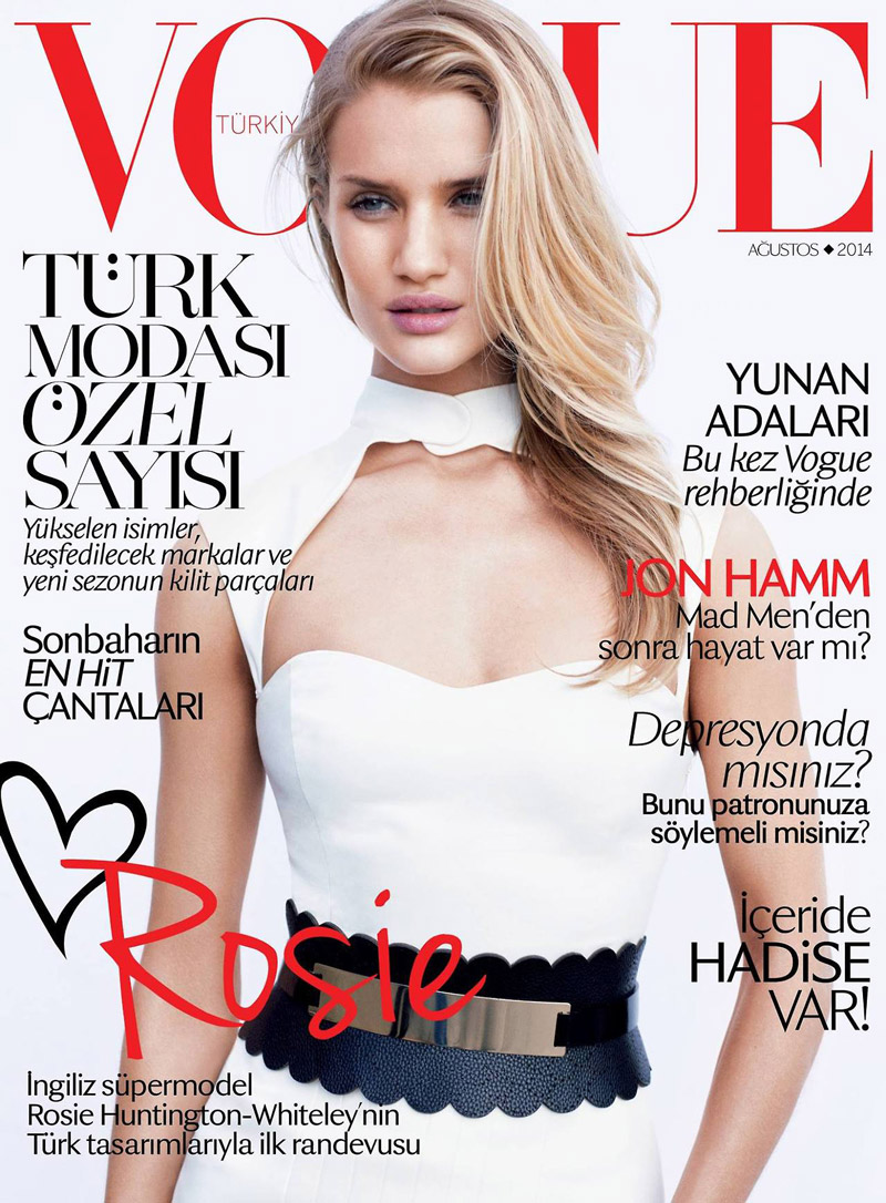 rosie huntington whiteley vogue turkey 2014 cover Rosie Huntington Whiteley Wears White Hot Dress for Vogue Turkey August 2014 Cover