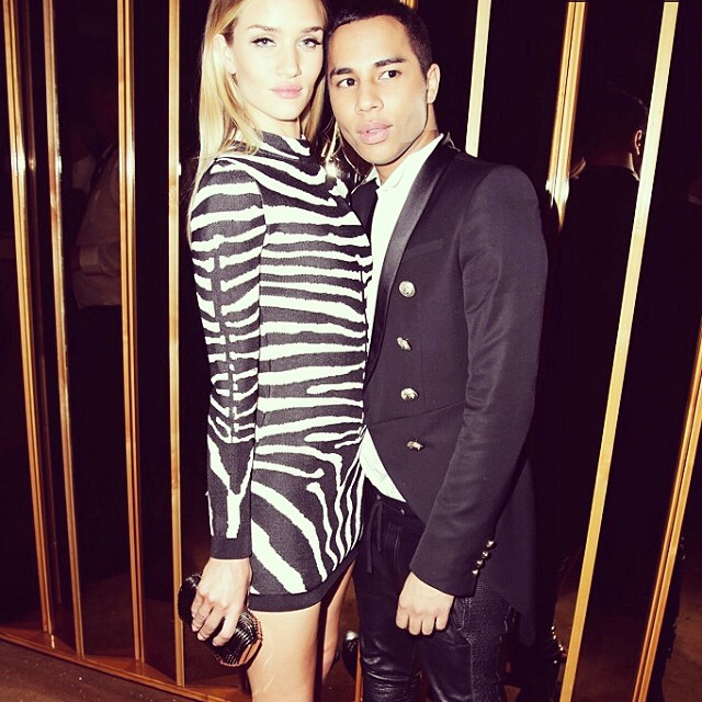 Rosie Huntington-Whiteley & Olivier Rousteing at 2014 Met Gala After Party. Photo: Designer's Instagram
