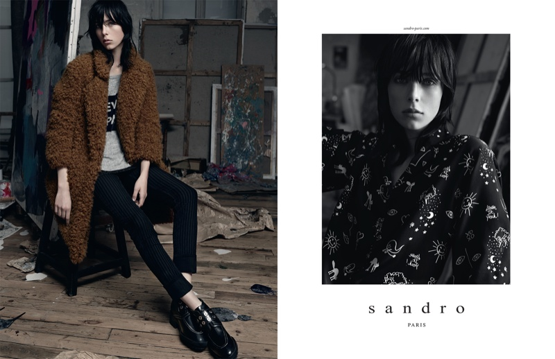 sandro 2014 fall winter campaign1 Edie Campbell Lives the Artists Life for Sandro Fall 2014 Campaign