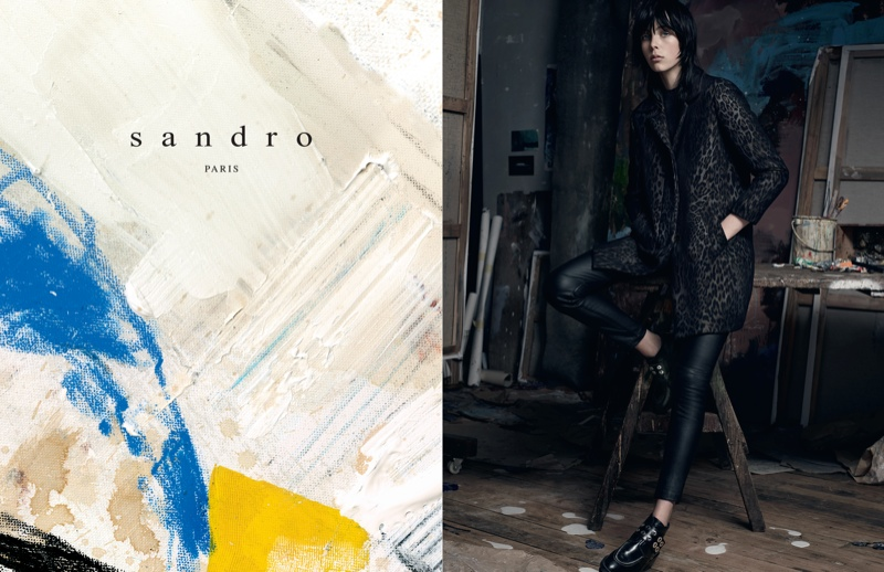sandro 2014 fall winter campaign2 Edie Campbell Lives the Artists Life for Sandro Fall 2014 Campaign