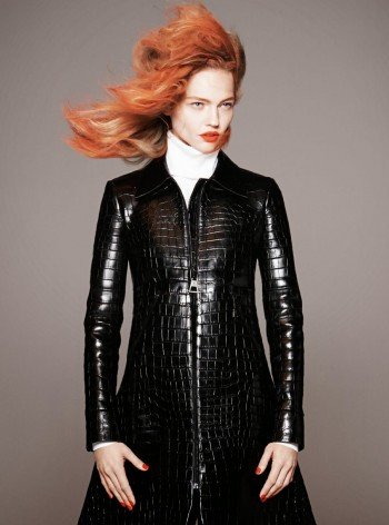 Sasha Pivovarova Rocks Red Hair, Fall Coats for Vogue Paris by David Sims