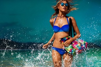 Martha Hunt Models Swimsuits for Seafolly Cruise/Summer 2015 Campaign