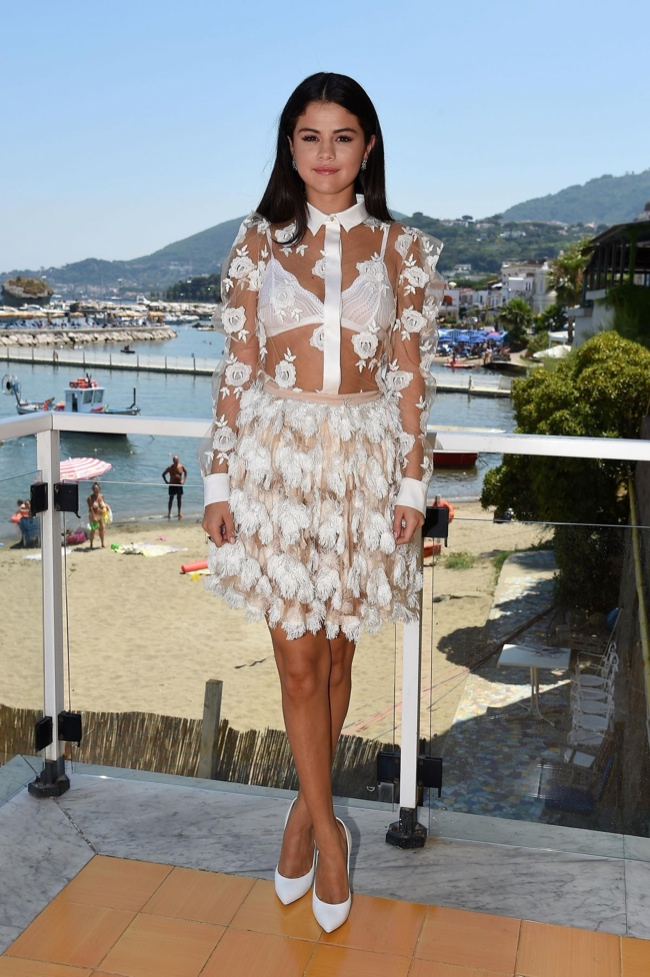 selena gomez blumarine sheer dress1 Selena Gomez Goes Sheer in Blumarine at Press Conference for Ischia Global Film & Music Festival