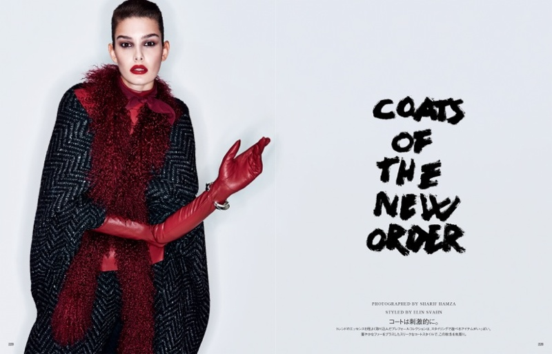 sharif hamza coats story1 Coats of the New Order: Ophélie Guillermand by Sharif Hamza for Vogue Japan