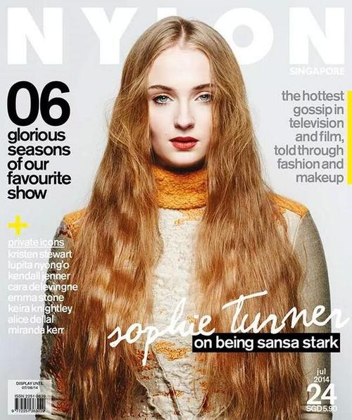 """Game of Thrones"" Sophie Turner Covers Nylon Singapore July 2014"