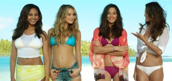Ariel Meredith, Hannah Davis, Jessica Gomes and Chrissy Teigen in Air New Zealand Safety Video