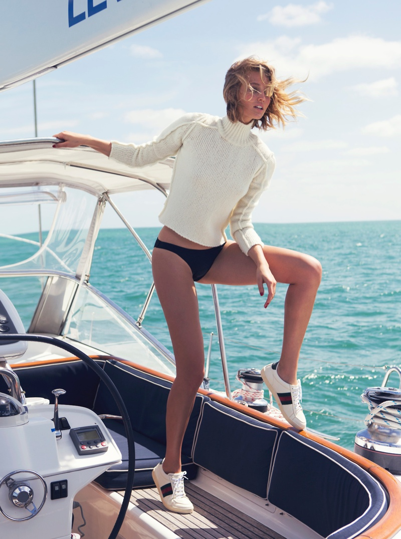 toni garrn david bellemere shoot4 Toni Garrn Gets Nautical for The Edit, Talks Her Career