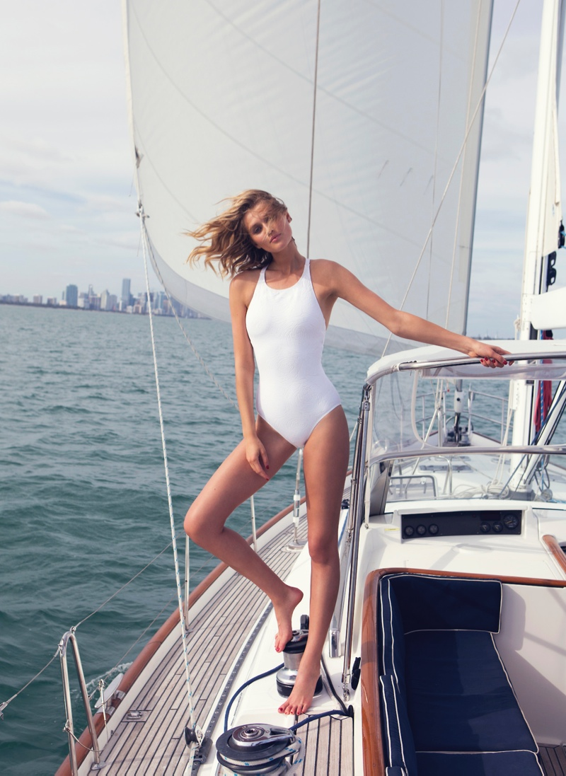 toni garrn david bellemere shoot6 Toni Garrn Gets Nautical for The Edit, Talks Her Career