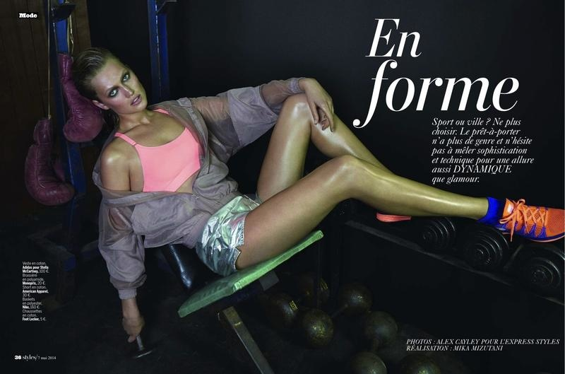 toni garrn photo shoot 2014 1 Toni Garrn Shapes Up for Sporty L'Express Styles Spread by Alex Cayley
