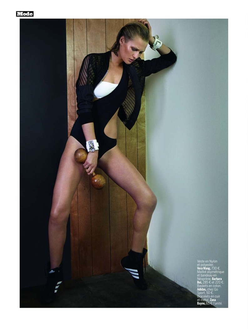 toni garrn photo shoot 2014 2 Toni Garrn Shapes Up for Sporty L'Express Styles Spread by Alex Cayley