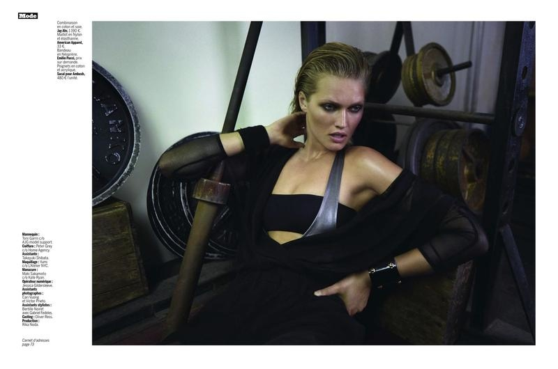toni garrn photo shoot 2014 3 Toni Garrn Shapes Up for Sporty L'Express Styles Spread by Alex Cayley