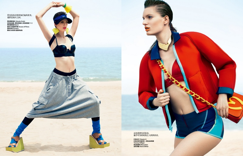 unconvential swimwear shxpir4 Carolina Sjostrand Models Sporty Swimsuits for Bazaar China by Shxpir
