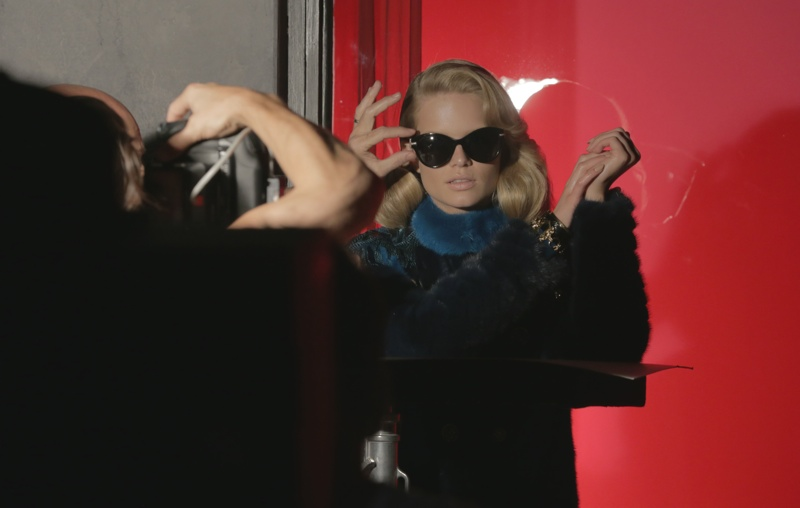 versace bts Anna Ewers + Stella Tennant in Additional Versace Fall 2014 Ads