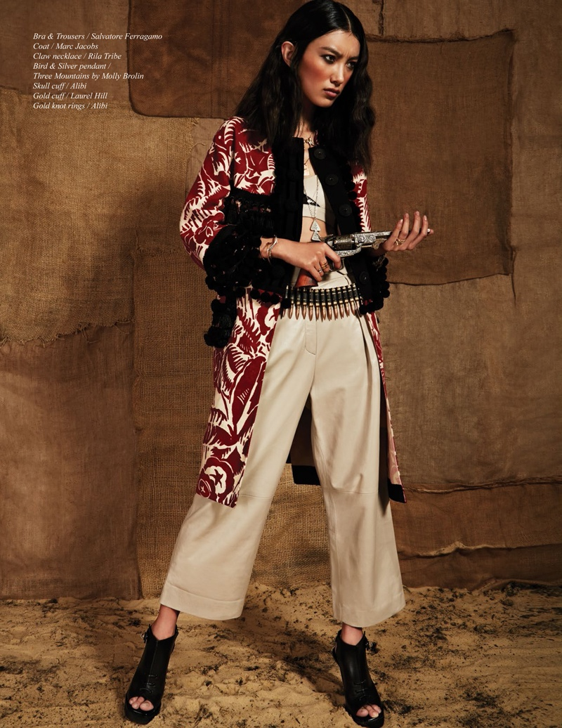 western samurai style michael flores5 Konichiwa Cowboy: Sissi Hou by Michael Flores for Schön Magazine