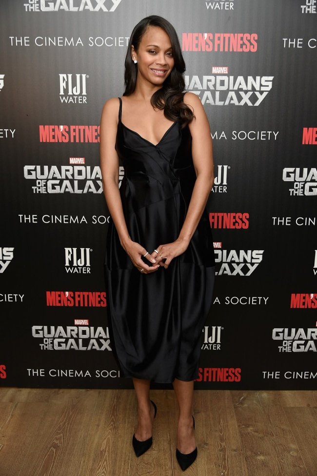 "Zoe Saldana Wears Lanvin Dress at ""Guardians of the Galaxy"" New York Screening"