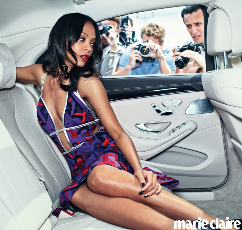 zoe saldana marie claire 2014 1 Zoe Saldana Poses for Marie Claire, Talks Relationships