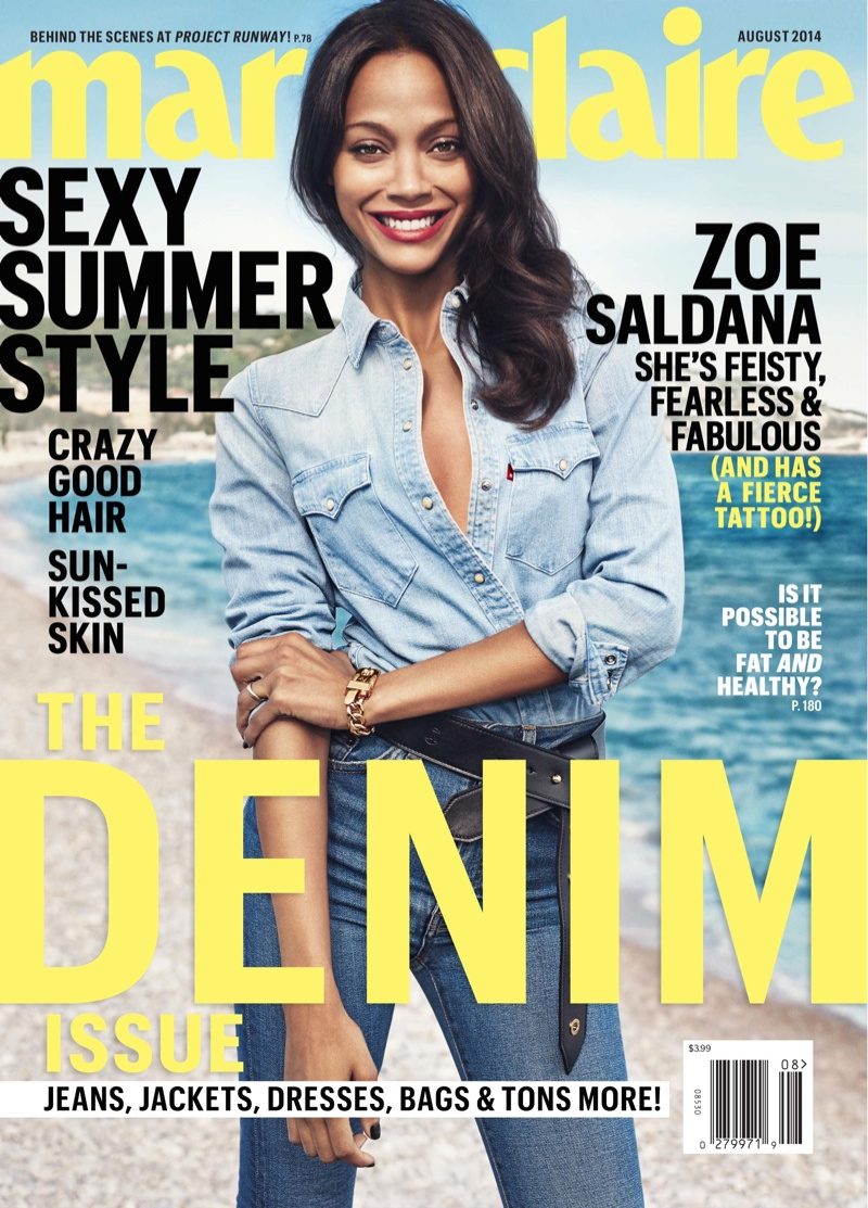 zoe saldana marie claire 2014 3 Zoe Saldana Poses for Marie Claire, Talks Relationships