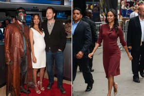"Pregnant Zoe Saldana Wears Calvin Klein Collection During ""Guardians of the Galaxy"" Promo"