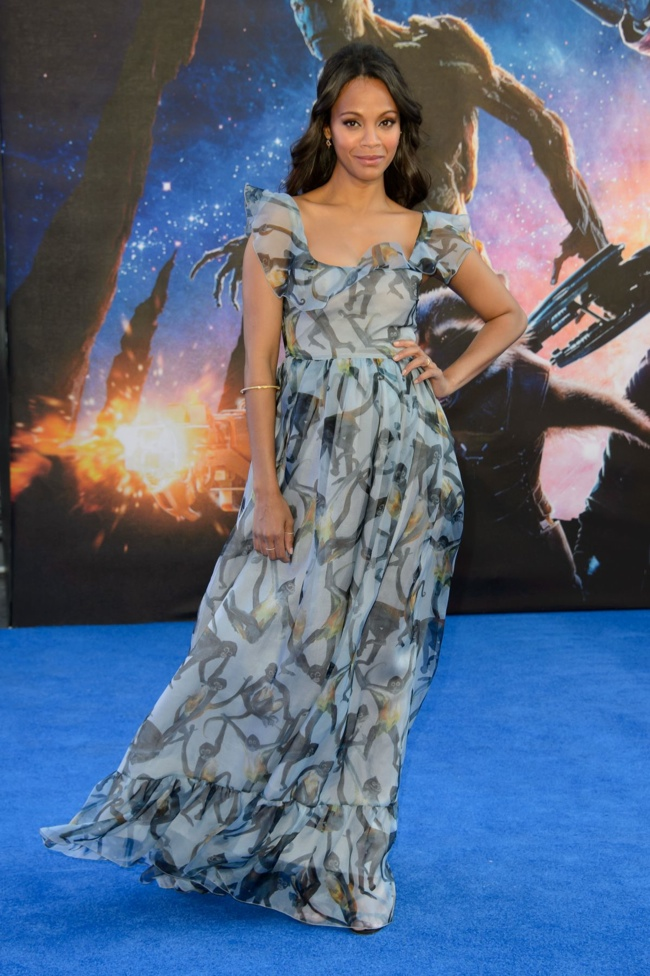 zoe saldana valentino dress1 Zoe Saldana Looks Dreamy in Valentino Gown at Guardians of the Galaxy London Premiere