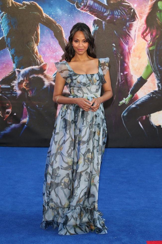 zoe saldana valentino dress2 Zoe Saldana Looks Dreamy in Valentino Gown at Guardians of the Galaxy London Premiere