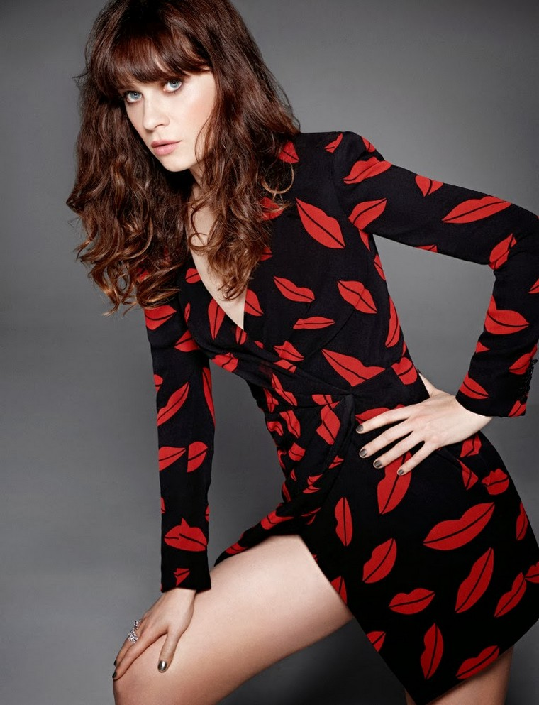 Zooey Deschanel for ELLE in Saint Laurent Lip Print