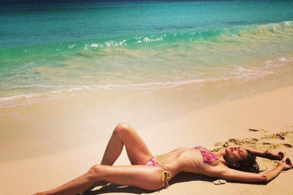 Ana Beatriz Barros enjoying the sand as well