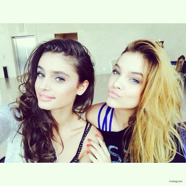 Barbara Palvin poses with Taylor Marie Hill