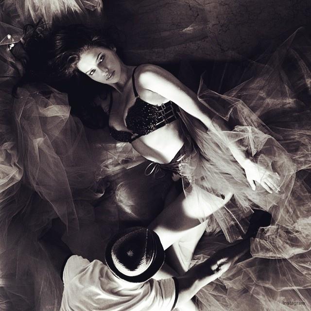 Adriana Lima behind the scenes at VS Holiday shoot