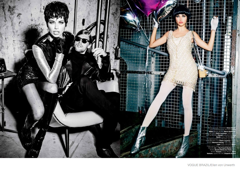 adriana lima short hair ellen von unwerth02 Adriana Lima Wears Short Hair for Ellen von Unwerth Shoot in Vogue Brazil