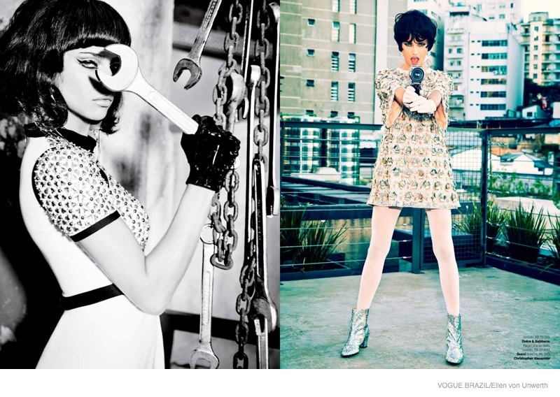 adriana lima short hair ellen von unwerth06 Adriana Lima Wears Short Hair for Ellen von Unwerth Shoot in Vogue Brazil