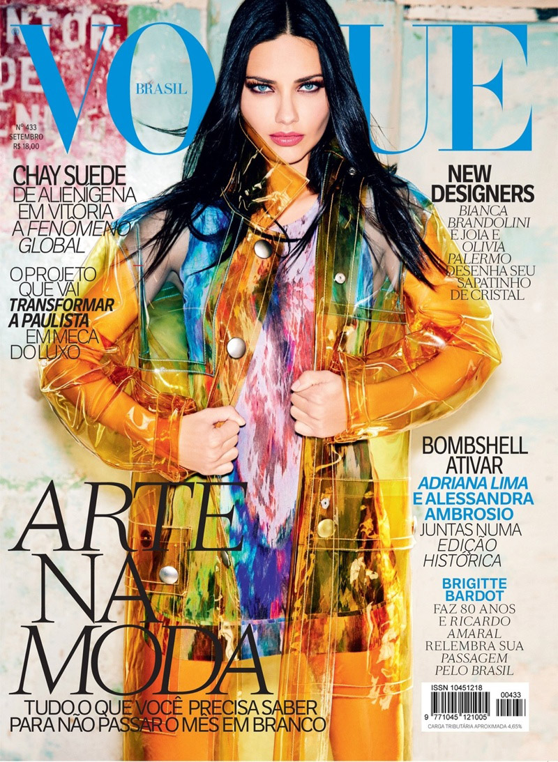 Adriana Lima Lands Vogue Brazil's September 2014 Cover in Miu Miu