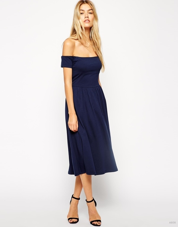 Midi Bardot Skater Dress available at ASOS for $42.56