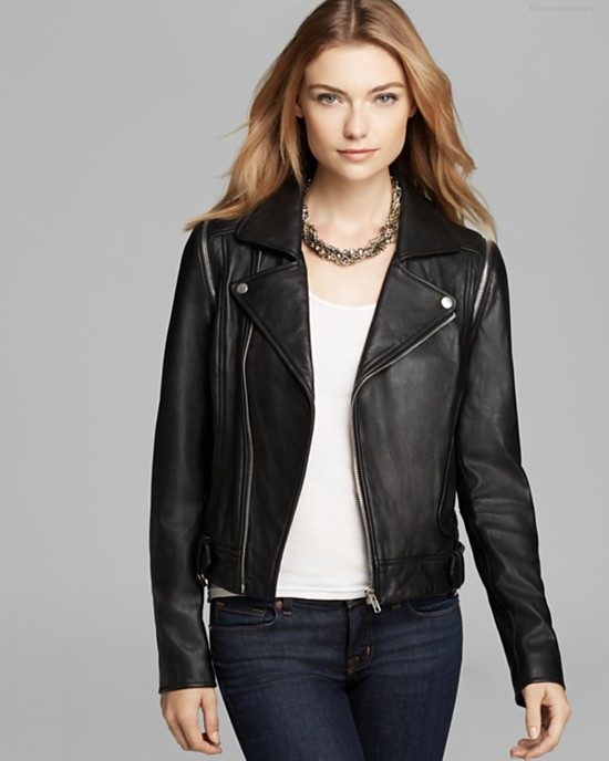 AQUA Moto Leather Jacket with Zip Off Sleeve available at Bloomingdale's for $378.00
