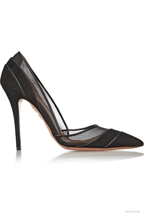 Aquazzura + Olivia Palermo paneled mesh and suede pumps available at Net-a-Porter for $740.00