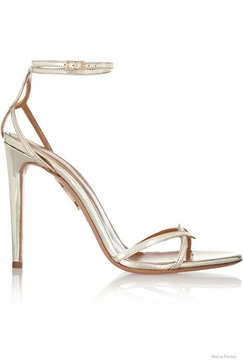 Aquazzura + Olivia Palermo  mirrored-leather sandals available at Net-a-Porter for $600.00