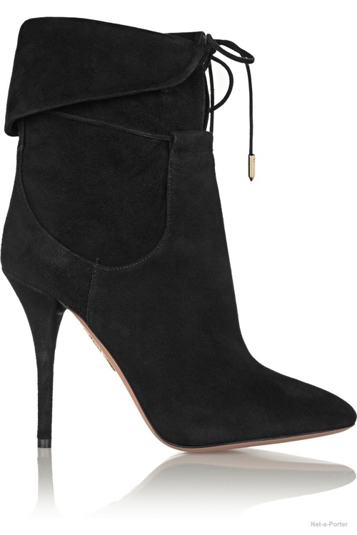 Aquazzura + Olivia Palermo   suede ankle boots available at Net-a-Porter for $810.00