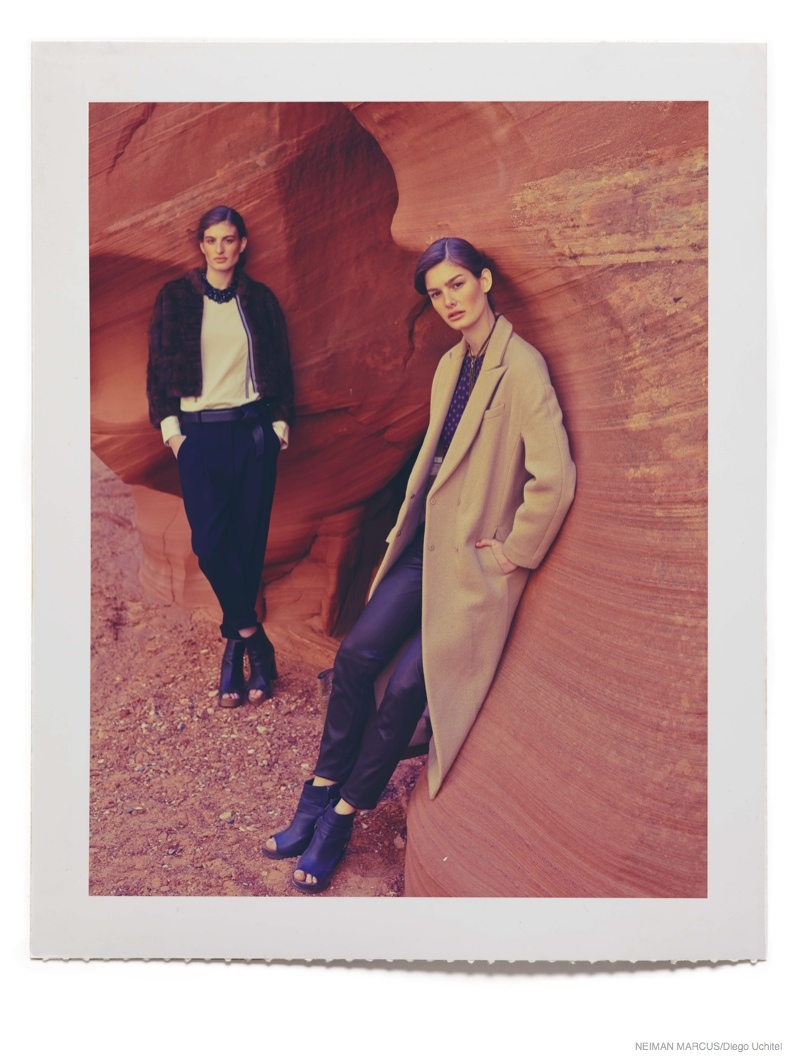 Ophelie & Elodia Wear Fall Outerwear for Neiman Marcus Shoot by Diego Uchitel