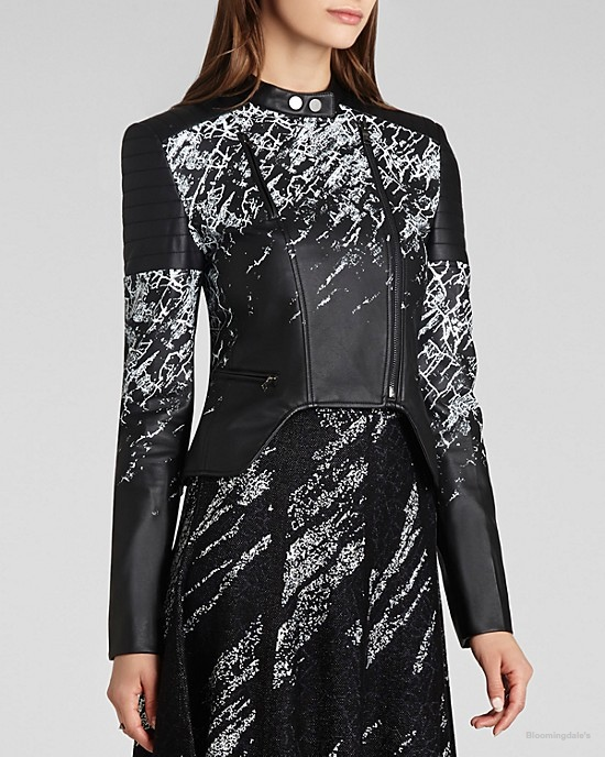 BCBGMAXAZRIA Moto Jacket Luis Printed Faux Leather available at Bloomingdale's for $298.00